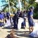 Mahasiswa KKN UGM menggelar aksi bersih pantai di Bacan, Maluku Utara. FOTO: DOK.UGM.AC.ID