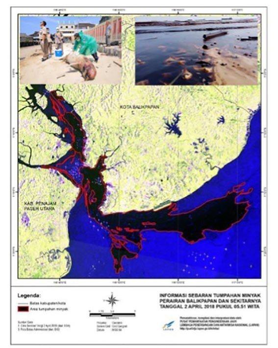 Sebaran minyak Teluk Balikpapan