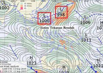 Peta angin gradien dan sistem tekanan rendah di Filipina. BMKG