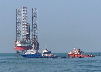Anjungan lepas pantai YYA-1 Pertamina Hulu Energi Offshore North West Java (PHE ONWJ) di Karawang, Pantai Utara, Jawa Barat mengalami kebocoran pada 12 Juli 2019 lalu. FOTO: DITJEN HUBLA