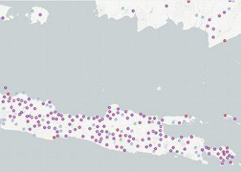 Sebagian titik-titik sampah di Indonesia. QLUE