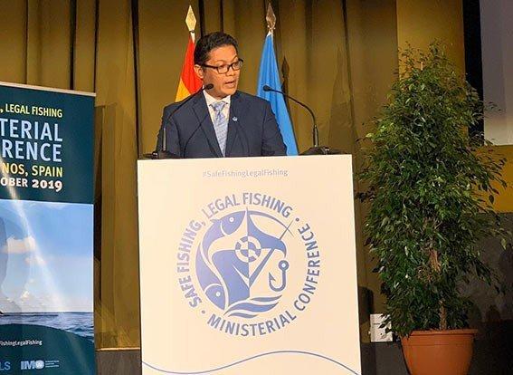 Direktur Jenderal Perikanan Tangkap Kementerian Kelautan dan Perikanan (KKP) M Zulficar Mochtar saat Konferensi Tingkat Menteri tentang Keselamatan Kapal Perikanan dan IUU Fishing di Torremolinos, Málaga, Spanyol, Senin (21/10).