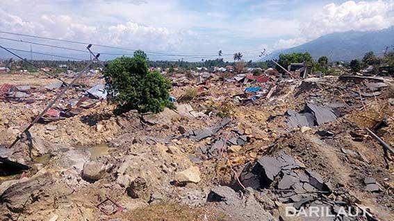 Likuefaksi di Balaroa, Palu, Sulawesi Tengah, Jumat 28 September 2018. FOTO: DARILAUT.ID