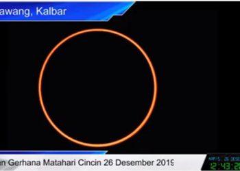 Gerhana Matahari Cincin, Kamis 26 Desember 2019 di Singkawang Provinsi Kalimantan Barat. FOTO: BMKG