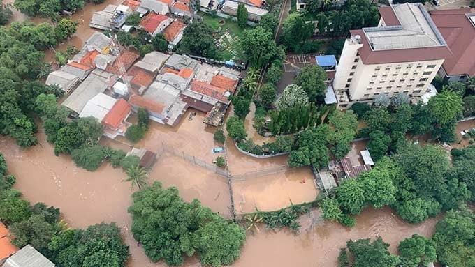 Salah satu lokasi banjir, Rabu (1/1/2020)  di Jakarta. FOTO: BNPB