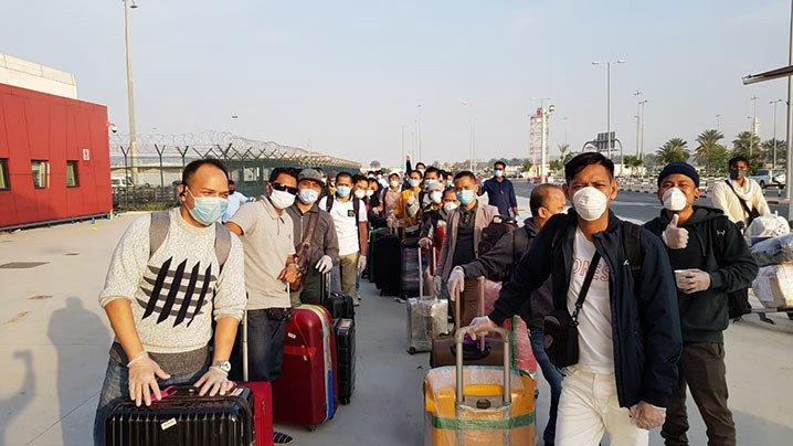 Para ABK Indonesia yang dipulangkan dari Dubai. FOTO: KEMLU