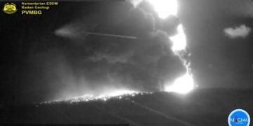 Aktivitas Gunungapi Anak Krakatau Jumat  10 April 2020, pukul 23.16 WIB. FOTO: VSI.ESDM.GO.ID