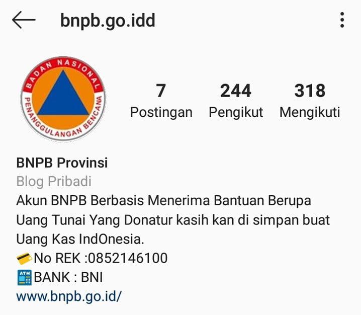 Akun palsu cari donasi mengatasnamakan BNPB (INSTAGRAM)