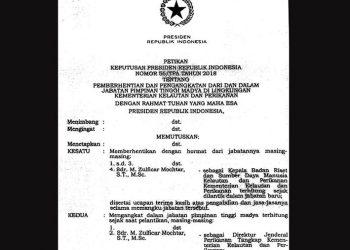Keputusan Presiden Republik Indonesia Nomor 56/TPA tahun 2018 tentang pemberhentian dan pengangkatan dari dan dalam Jabatan Pimpinan Tinggi Madya di Lingkungan Kementerian Kelautan dan Perikanan.