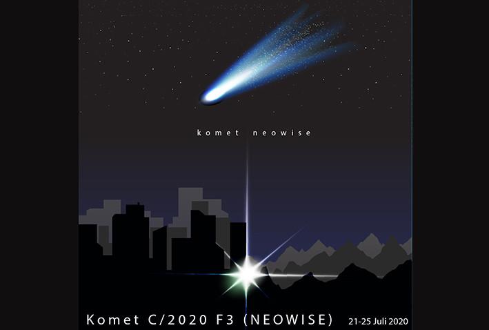 Ilustrasi komet Neowise atau C/2020 F3. LAPAN