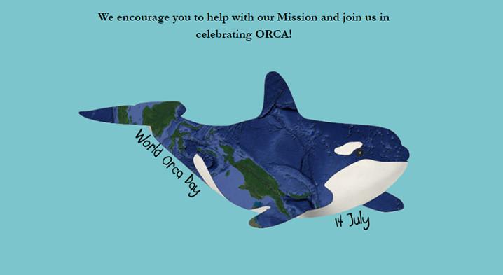 Paus orca yang bagian tubuh memperlihatkan peta Kepulauan Indonesia di Hari Orca Seduia. WORLDORCADAY.ORG