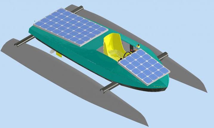 Desain kapal katamaran yang didesain dan dibuat Tim Hydros UI dengan inovasi menggunakan sumber energi menjadi juara dunia dalam ajang kompetisi Solar & Energy Boat Challenge 2020. TIM HYDROS UI