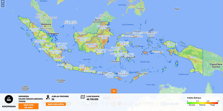 Analisis InaRISK wilayah yang berpotensi terhadap bahaya kekeringan di Indonesia. BNPB