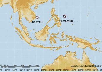 Peta siklon tropis Vamco dan Etau, Selasa 10 November 2020. TCWC Jakarta-BMKG
