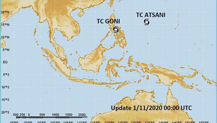 Peta Sikon tropis Goni dan sikon tropis Atsani, pada Minggu 1 November 2020. TCWC-BMKG