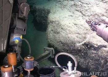 Robot bawah air, SuBastian, mengumpulkan karang air dingin (coldwater corals)  dari dinding samping ngarai di kedalaman 1767 meter. FOTO: SCHMIDTOCEAN.ORG