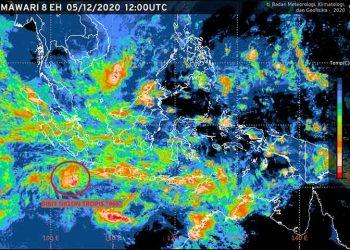 """Bibit siklon tropis dengan kode """"96S"""". BMKG"""