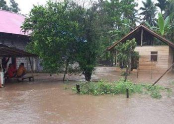 Banjir di Kabupaten Halmahera Utara, Sabtu (16/1). FOTO: bPBD Kabupaten Halmahera Utara/BNPB