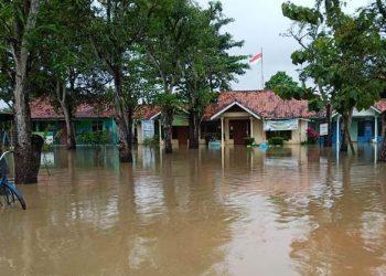 Banjir di Kabupaten Pekalongan, Jawa Tengah, Senin (18/1). FOTO: BPBD Kabupaten Pekalongan/BNPB