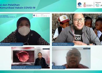 Sosialisasi dan Pelatihan Strategi Komunikasi Vaksin COVID-19 kerja sama Kementerian Kominfo dan Komite Penanganan COVID-19 dan Pemulihan Ekonomi Nasional (KPCPEN), Siberkreasi dan Kitatama, bekerjasama dengan Asosiasi Media Siber Indonesia (AMSI) Gorontalo, Sabtu (27/2). ISTIMEWA