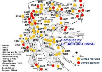 Sejarah gempa merusak dan tsunami di seluruh Sulawesi. Perhatikan pantai barat Sulawesi, banyak kejadian gempa di masa lalu. GAMBAR: DARYONO/TWITTER