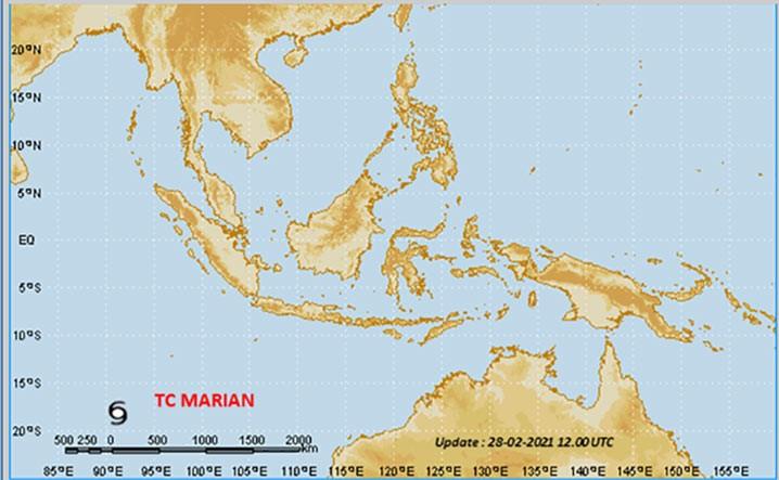 Siklon tropis Marian di Samudera Hindia. TCWC-BMKG