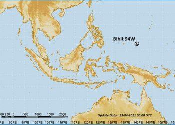 Bibit siklon tropis 94W di Samudera Pasifik. TCWC Jakarta – BMKG