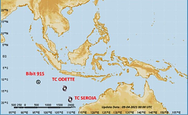 Siklon tropis Seroja dan Odette. TCWC-BMKG
