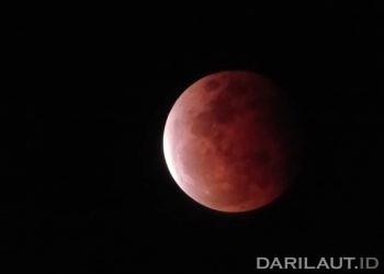 Hasil pengambilan gambar Gerhana bulan total perigee dari lokasi pantai Botubarani, Bone Bolango, Gorontalo, menggunakan kamera pada telepon genggam dengan alat bantu teleskop, Rabu (26/5). FOTO: ASWANDI NOER