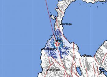 Shake map gempa dengan magnitudo (M)4, di wilayah Kota Palu, Sabtu (10/7). BMKG/BNPB