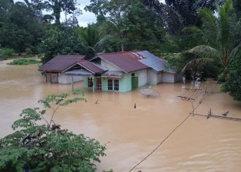 Kondisi banjir di Kabupaten Sintang, Kalimantan Barat, Kamis (15/7). FOTO: BPBD Sintang/BNPB
