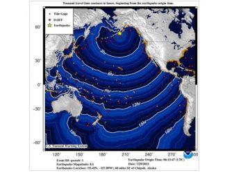 Pemodelan potensi propagasi tsunami setelah gempa M 8,2 mengguncang Alaska. GAMBAR: VOLCANODISCOVERY.COM