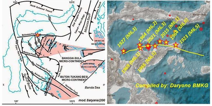 Sejarah gempa berkekuatan di atas magnitudo 6 di patahan Balantak (Balantak fault). DARYONO-BMKG/TWITTER