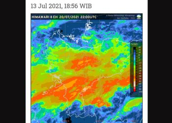 Peringatan dini cuaca Kalimantan Barat tanggal 13 Juli 2021. BMKG