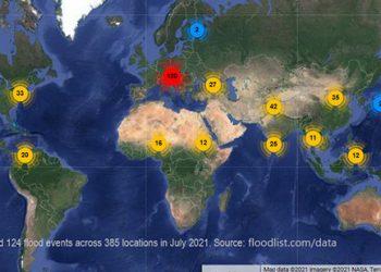 Banjir yang terjadi pada bulan Juli 2021 di seluruh dunia. Sumber: FLOODLIST.COM