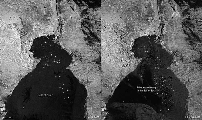 Kapal kontainer Ever Given kandas di Terusan Suez Mesir, 23 Maret 2021. Gambar ini diambil 25 Maret 2021 dengan menggunakan satelit Copernicus Sentinel-1. FOTO: ESA.INT