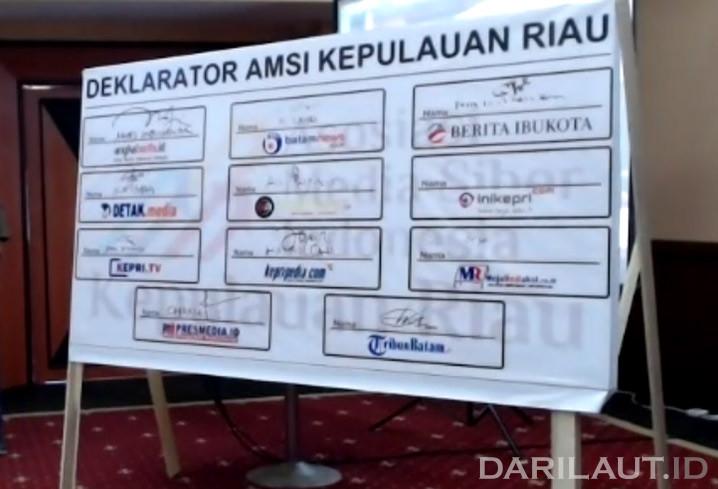 Deklarasi pembentukan AMSI Wilayah Kepri, di Kota Tanjungpinang, Sabtu (18/9). AMSI