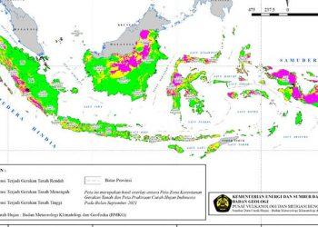 Peta prakiraan wilayah potensi terjadinya gerakan tanah pada bulan September 2021 di Indonesia. PVMBG