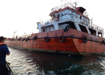 Kapal tanker SPOB Wijaya Kusuma 2 Helen Mars. FOTO: HUBLA